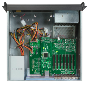 4U black industrial expansion chassis with PCIe x16 expansion slots inside