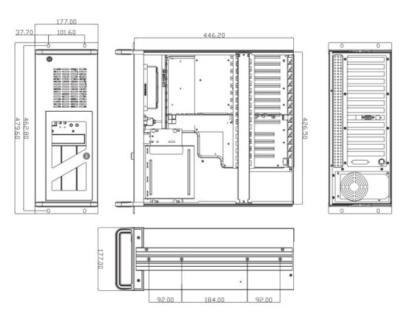 """Dimensional diagram of 4U industrial rackmount chassis with dimensions 19"""" (482.6mm) x 17.7"""" (450mm) x 7"""" (177mm)"""