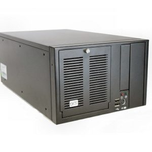 "Black industrial 8-slot shoebox with 1x 5.25"" External; 1x 3.5"" External; 1x 3.5"" Internal drive bays"