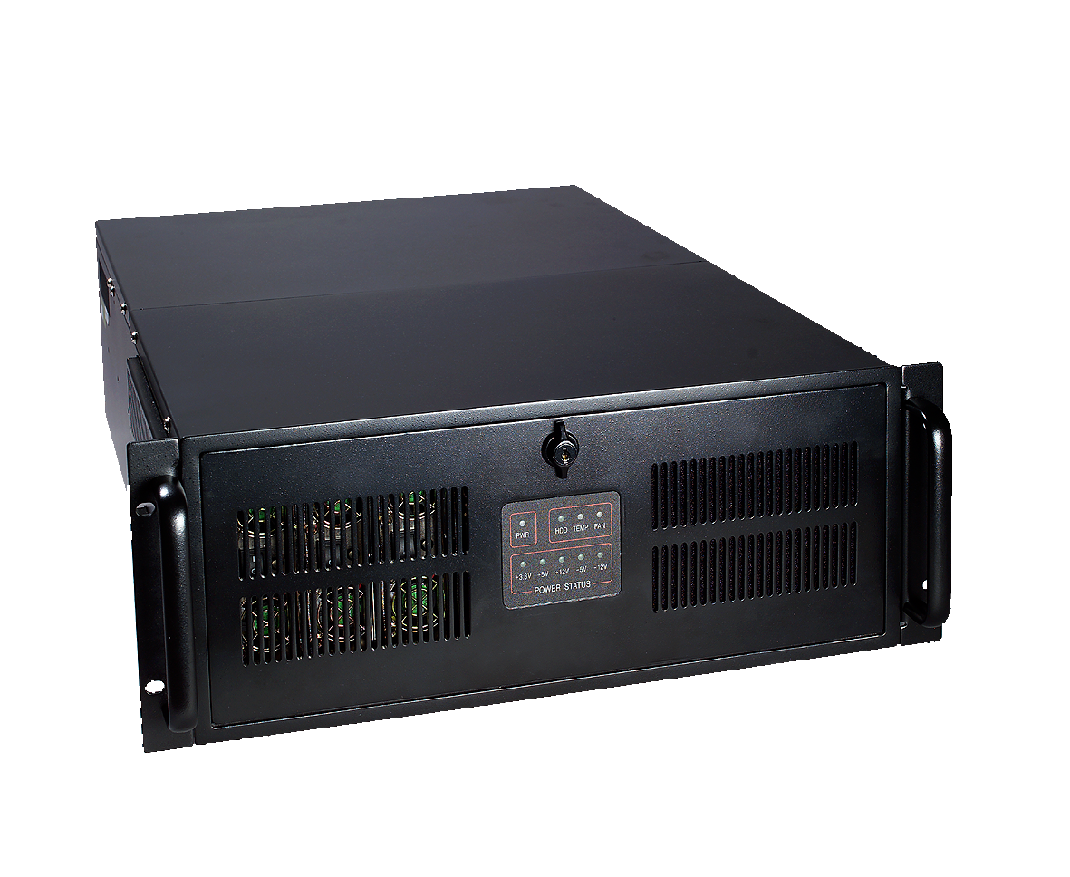 4U 20 slot black industrial rackmount chassis